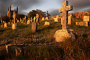 The graveyard at St. Genny's Church in northern Cornwall at sunrise