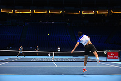 November 10, 2017 - London, England, United Kingdom - Rafael Nadal of Spain (L) and Marin Cilic of Croatia are pictured during a training session prior to the Nitto ATP World Tour Finals at O2 Arena, London on November 10, 2017. (Credit Image: © Alberto Pezzali/NurPhoto via ZUMA Press)