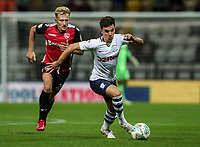 Preston North End's Josh Harrop breaks away from Morecambe's AJ Leitch-Smith<br /> <br /> Photographer Andrew Kearns/CameraSport<br /> <br /> Carabao Cup First Round - Preston North End v Morecambe - Tuesday August 14th 2018 - Deepdale - Preston<br />  <br /> World Copyright © 2018 CameraSport. All rights reserved. 43 Linden Ave. Countesthorpe. Leicester. England. LE8 5PG - Tel: +44 (0) 116 277 4147 - admin@camerasport.com - www.camerasport.com