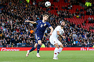 Scotland midfielder Stuart Armstrong (8) (Southampton)  and Portugal midfielder Bruno Fernandes (16) (Sporting Lisbon) <br />  during the Friendly international match between Scotland and Portugal at Hampden Park, Glasgow, United Kingdom on 14 October 2018.