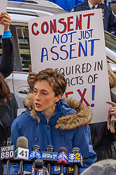 January 10, 2017 - Brooklyn, NY, United States - Jane Manning, Director of Advocacy for Women's Justice NOW - The National Organization for Women NYC denounced comments made by NYPD Captain Peter Rose, trivializing rape cases in which the perpetrator's identity is known to the victim. In response, NOW-NYC organized a press conference and protest outside of the 94th Precinct held at 1pm on January 10th to call for all rapes to be taken seriously and to issue a series of demands to the NYPD. (Credit Image: © Erik Mcgregor/Pacific Press via ZUMA Wire)