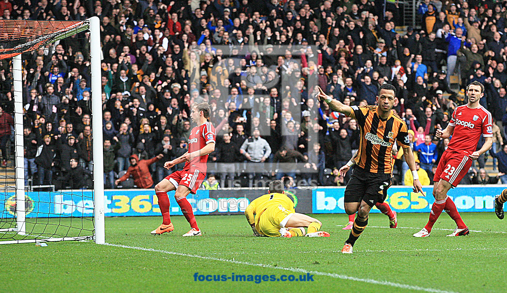 Liam Rosenior of Hull City celebrates his goal to put hull 1-0 up during the Barclays Premier League match at the KC Stadium, Kingston upon Hull<br /> Picture by Richard Gould/Focus Images Ltd +44 7855 403186<br /> 22/03/2014