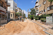 Israel, Tel Aviv Urban renovation. Roadworks in a residential area