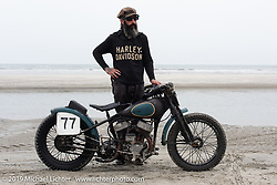 Josh Kohn of Jugtown Mountain, NJ on his 1942 Harley-Davidson 45 inch Beach Racer (mixed parts & years) at TROG (The Race Of Gentlemen) in Wildwood, NJ. USA. Sunday June 10, 2018. Photography ©2018 Michael Lichter.
