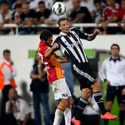 Besiktas's Filip Holosko (R)and Galatasaray's Hakan Balta during their Turkish Superleague soccer derby match Besiktas between Galatasaray at the Inonu Stadium at Dolmabahce in Istanbul Turkey on Thursday, 26 August 2012. Photo by TURKPIX