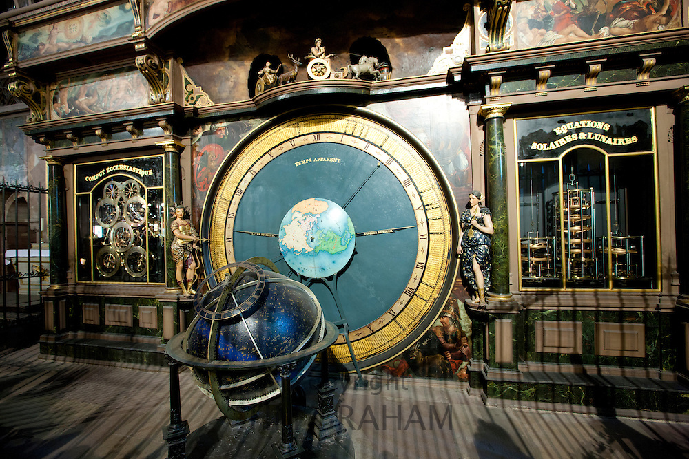 The Strasbourg Astronomical Clock in South Transept of The Cathedral of Notre Dame, Our Lady,  at Strasbourg, Alsace, France