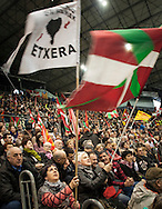 People wave Basque flags as they attend a tribute meeting to Basque politician Arnaldo Otegi, organized by Sortu pro-indpendence party, four days after he left prison. Donostia (Basque Country). March 5, 2016. Arnaldo Otegi is a politician, member of the Basque patriotic left movement, who was arrested in 2009, acused of trying to rebuild outlawed Batasuna pro-independence party, and was given a ten year sentence. In may 2012 Otegi's sentence was reduced to 6 1/2 years by the Spanish Supreme Court, as they decided he was not part of ETA. (Gari Garaialde / Bostok Photo)
