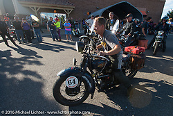 Steve Macdonald arrives at the finish on his 1928 Henderson Deluxe during Stage 10 (278 miles) of the Motorcycle Cannonball Cross-Country Endurance Run, which on this day ran from Golden to Grand Junction, CO., USA. Monday, September 15, 2014.  Photography ©2014 Michael Lichter.