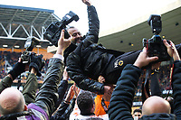 Wolverhampton, England:Saturday 28h April,2018- Football-2017/2018 Sky Bet Championship. Wolverhampton Wanderer's manager Nuno Espírito Santo is thrown up in the air after the match between Wolverhampton Wanderers and Sheffield Wednesday at the Molineux Stadium. COLORSPORT/LAURA MALKIN