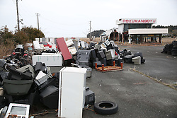 """Abandoned houses and wastes are seen in the Futaba District, located well within the 20-kilometer exclusion radius around the leaking facilities of Fukushima Daiichi nuclear power plant, in Fukushima Prefecture, Japan, March 7, 2015. The scenes from the towns and villages still abandoned four years after an earthquake triggered tsunami breached the defenses of the Fukushima Daiichi nuclear power plant, would make for the perfect backdrop for a post- apocalyptic Hollywood zombie movie, but the trouble would be that the levels of radiation in the area would be too dangerous for the cast and crew. The central government's maxim of """"Everything is under control"""" in and around the nuclear plant, has been a blatant lie since the disaster began to unfold on March 11, 2011, quickly escalating into the worst civilian nuclear crisis ever to happen, with twice the amount of radioactive materials being released into the environment than the Chernobyl disaster in 1986. EXPA Pictures © 2015, PhotoCredit: EXPA/ Photoshot/ Liu Tian<br /> <br /> *****ATTENTION - for AUT, SLO, CRO, SRB, BIH, MAZ only*****"""