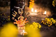 Candles at a temple in Varanasi, Uttar Pradesh, India