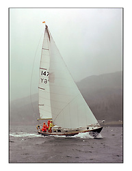 The Clyde Cruising Club's 1977 Tomatin Trophy the first Scottish Series held at Tarbert Loch Fyne.  An overnight race from Gourock to Campbeltown then on to Olympic Triangles in Loch Fyne. ..1476Y Marna III fetches into Tarbert after the second of the offshore legs..