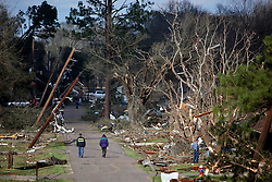 24 February 2016. Schexnaydre St, Convent, Louisiana.<br /> Scenes of devastation following a deadly EF3 tornado touchdown. 2 confirmed dead. <br /> Photo©; Charlie Varley/varleypix.com