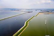 Nederland, Zeeland, Gemeente Reimerswaal, 01-04-2016; Markiezaatskade met Markiezaatsmeer  en Schelde-Rijnverbinding. Oesterdam met Oosterschelde op het tweede plan.  De Markiezaatskade is oorspronkelijk aangelegd als hulpdam voor de bouw van de Oesterdam. Speelt belangrijke rol in de zoetwaterhuishouding.<br /> <br /> Markiezaatskade, division between salt and sweet water, part of the Delta Works.<br /> <br /> luchtfoto (toeslag op standard tarieven);<br /> aerial photo (additional fee required);<br /> copyright foto/photo Siebe Swart