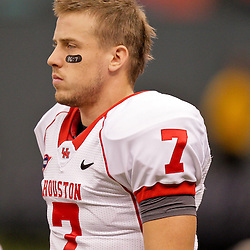 Oct 17, 2009; New Orleans, LA, USA;  Houston Cougars quarterback Case Keenum (7) on the sideline during a game against the Tulane Green Wave at the Louisiana Superdome. Houston defeated Tulane 44-16.   Mandatory Credit: Derick E. Hingle-US PRESSWIRE