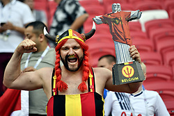 July 6, 2018 - Kazan, RUSSIA - Red devils fan Obelgix Nicolas Dardenne holding the statue of Christo Redendor wearing a Red Devils shirt at a soccer game between Belgian national soccer team the Red Devils and Brazil in Kazan, Russia, Friday 06 July 2018, the quarter-finals of the 2018 FIFA World Cup...BELGA PHOTO DIRK WAEM (Credit Image: © Dirk Waem/Belga via ZUMA Press)