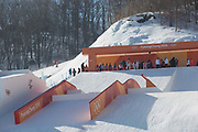 The freestyle ski and snowboard slopestyle course open for practice on the 7th February 2018 at Phoenix Snow Park for the Pyeongchang 2018 Winter Olympics in South Korea