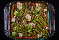 Vegetable Casserole. Image taken with a Nikon D850 camera and 105 mm f/1.4 lens (ISO 800, 105 mm, f/28, 1/125 sec).