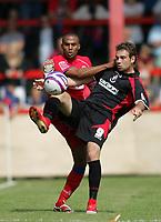 Photo: Lee Earl/Richard Lane Photography<br /> Aldershot v Bournemouth. Coca-Cola Football League Two. 16/08/2008. Aldershot's Louie Soares (L) battles with Brett Pitman.