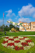 War memorial and bombed building, Karlovac, Croatia