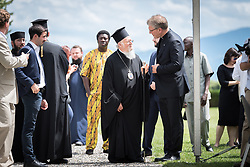 17 June 2018, Bogis-Bossey, Switzerland: His All-Holiness Ecumenical Patriarch Bartholomew visits the Ecumenical Institute. A former Bossey student himself, the patriarch visited the Bossey chapel with the students, reflecting on the time at the Ecumenical Institute and the ministry of Bossey. Here, in conversation with WCC general secretary Rev. Dr Olav Fykse Tveit.
