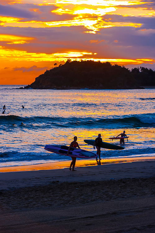Surfers at sunrise, Manly Beach, Sydney, New South Wales, Australia