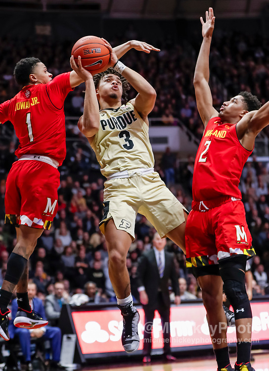 WEST LAFAYETTE, IN - DECEMBER 06: Carsen Edwards #3 of the Purdue Boilermakers shoots the ball during the game against the Maryland Terrapins at Mackey Arena on December 6, 2018 in West Lafayette, Indiana. (Photo by Michael Hickey/Getty Images) *** Local Caption *** Carsen Edwards