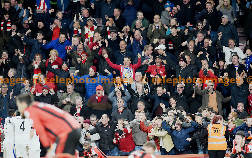 Sunderland fans celebrate the win in the Premier League match between AFC Bournemouth and Sunderland AFC at the Vitality Stadium in Bournemouth. November 5, 2016.<br /> Simon  Dack / Telephoto Images<br /> +44 7967 642437