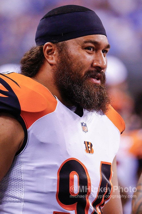 INDIANAPOLIS, IN - SEPTEMBER 3: Domata Peko #94 of the Cincinnati Bengals is seen during the game against the Indianapolis Colts at Lucas Oil Stadium on September 3, 2015 in Indianapolis, Indiana. (Photo by Michael Hickey/Getty Images) *** Local Caption *** Domata Peko