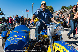 Bill Grotto at the Old School bike show at Willie's Tropical Tattoo during Biketoberfest, Ormond Beach, FL, October 16, 2014, photographed by Michael Lichter. ©2014 Michael Lichter