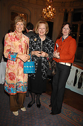 Left to right, FLORA SOROS, LADY ANTONIA FRASER and    at a party to celebrate the publication of 101 World Heroes by Simon Sebag-Montefiore at The Savile Club, 69 Brook Street, London W1 on 9th October 2007.<br />