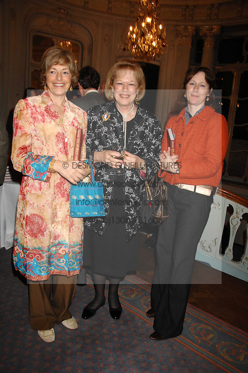 Left to right, FLORA SOROS, LADY ANTONIA FRASER and    at a party to celebrate the publication of 101 World Heroes by Simon Sebag-Montefiore at The Savile Club, 69 Brook Street, London W1 on 9th October 2007.<br /><br />NON EXCLUSIVE - WORLD RIGHTS
