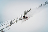 P O W D E R!!! Christopher Smith skiing in the Wasatch backcountry, Utah.