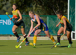Michelle Dykman of Eunice and Ame Coetzee of HMS Bloemhof during day one of the FNB Private Wealth Super 12 Hockey Tournament held at Oranje Meisieskool in Bloemfontein, South Africa on the 6th August 2016<br /> <br /> Photo by:   Frikkie Kapp / Real Time Images