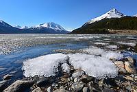The ice slowly melts on Tutshi Lake, British Columbia