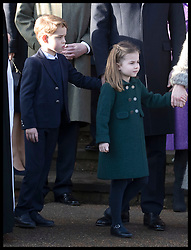 December 25, 2019, Sandringham, United Kingdom: Image licensed to i-Images Picture Agency. 25/12/2019. Sandringham, United Kingdom. The Duke and Duchess of Cambridge with their children Prince George and Princess Charlotte as they leave the Christmas Day church service at Sandringham in Norfolk, United Kingdom. (Credit Image: © Stephen Lock/i-Images via ZUMA Press)