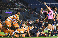 Ben Toolis scores opening try for Edinburgh during the Guinness Pro 14 2018_19 match between Edinburgh Rugby and Toyota Cheetahs at BT Murrayfield Stadium, Edinburgh, Scotland on 5 October 2018.