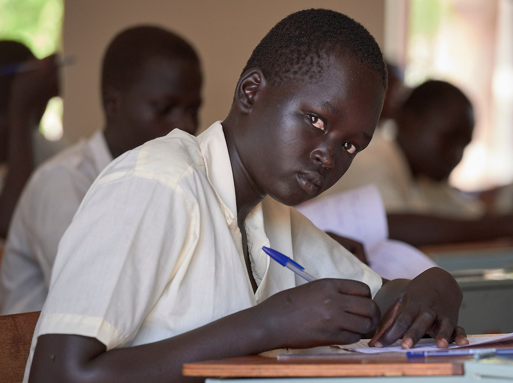 A student studies in the Loreto Primary School outside Rumbek, South Sudan. The school is run by the Institute for the Blessed Virgin Mary--the Loreto Sisters--of Ireland.