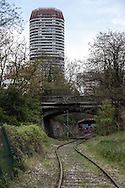 Paris 13 th district, the petite ceinture, the former train line , in Poterne des peupliers area