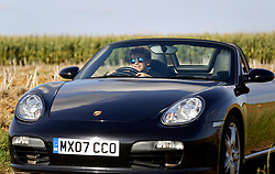 02 Sept 2019. St Denoeux, Pas de Calais, France.<br /> Messing about with cars. Ben in the Porsche Boxter.<br /> Photo©; Charlie Varley/varleypix.com