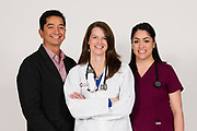 A high key portrait of a hospital doctor, nurse and administrator in Boulder, Colorado.