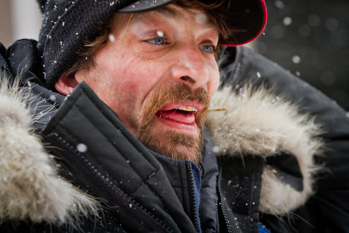 3.3.2012  Musher, Lance Mackey, at the ceremonial start of the Iditarod, Fourth Avenue, Anchorage