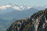 View of the Mount Valier massif from a ridge near Col du Pas de l'Ane, Haute-Garonne, Midi-Pyrenees, France.