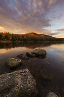 Beautiful autumn sunrise on Seyon Pond, Groton State Forest, Marshfield, Vermont