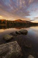 Beautiful autumn sunrise on Seyon Pond, Groton State Forest, Marshfield, Vermont