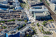 Nederland, Noord-Brabant, Eindhoven, 23-08-2016; centrum Eindhoven met Vestdijk, 18 septemberplein, Stationsplein, markt en warenhuis Bijenkorf<br /> Town centre Eindhoven with market<br /> <br /> luchtfoto (toeslag op standard tarieven);<br /> aerial photo (additional fee required);<br /> copyright foto/photo Siebe Swart