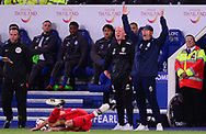 Tony Pulis, the manager of West Bromwich Albion ® shows frustration as he appeals for a foul .Premier league match, Leicester City v West Bromwich Albion at the King Power Stadium in Leicester, Leicestershire on Monday 16th October 2017.<br /> pic by Bradley Collyer, Andrew Orchard sports photography.