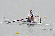 Eton, United Kingdom  GBR LM1X. Adam FREEMAN PASK at the start of his time trial men's lightweight single sculls at the 2012 GB Rowing Senior Trials, Dorney Lake. Nr Windsor, Berks.  Saturday  10/03/2012  [Mandatory Credit; Peter Spurrier/Intersport-images]