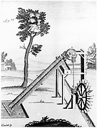 Twin Archimedean screws powered by an undershot water wheel, used to raise water . From Gaspard Grollier de Serviere 'Receuil d'Ouvrages Cureieux ?..',  Lyons,  1719. Engraving.
