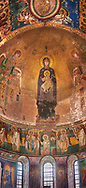 Pictures & images of the Byzantine mosaic of Theotokos, depicting the Virgin Mary, the  Mother of God, and child, 1126-1130, in the apse of the Gelati Georgian Orthodox Church of the Virgin, 1106. The medieval Gelati monastic complex near Kutaisi in the Imereti region of western Georgia (country). A UNESCO World Heritage Site. .<br /> <br /> Visit our MEDIEVAL PHOTO COLLECTIONS for more   photos  to download or buy as prints https://funkystock.photoshelter.com/gallery-collection/Medieval-Middle-Ages-Historic-Places-Arcaeological-Sites-Pictures-Images-of/C0000B5ZA54_WD0s<br /> <br /> Visit our REPUBLIC of GEORGIA HISTORIC PLACES PHOTO COLLECTIONS for more photos to browse, download or buy as wall art prints https://funkystock.photoshelter.com/gallery-collection/Pictures-Images-of-Georgia-Country-Historic-Landmark-Places-Museum-Antiquities/C0000c1oD9eVkh9c